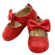 Sapato bebê feminino vermelho Babytonka
