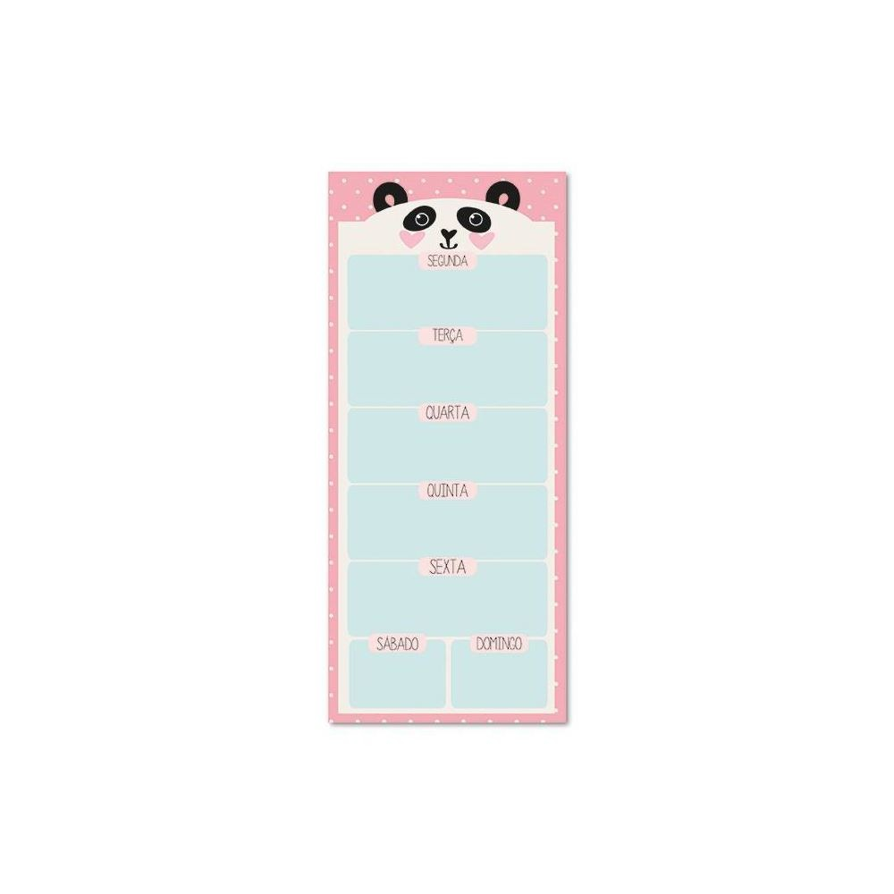 Bloco planner diário magnético panda