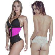 Kit Cinta Modeladora Curta 2 Colchetes Pink + Calcinha Modeladora Chocolate