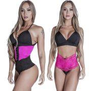 Kit Cinta Modeladora Curta 2 Colchetes Pink + Calcinha Modeladora Pink