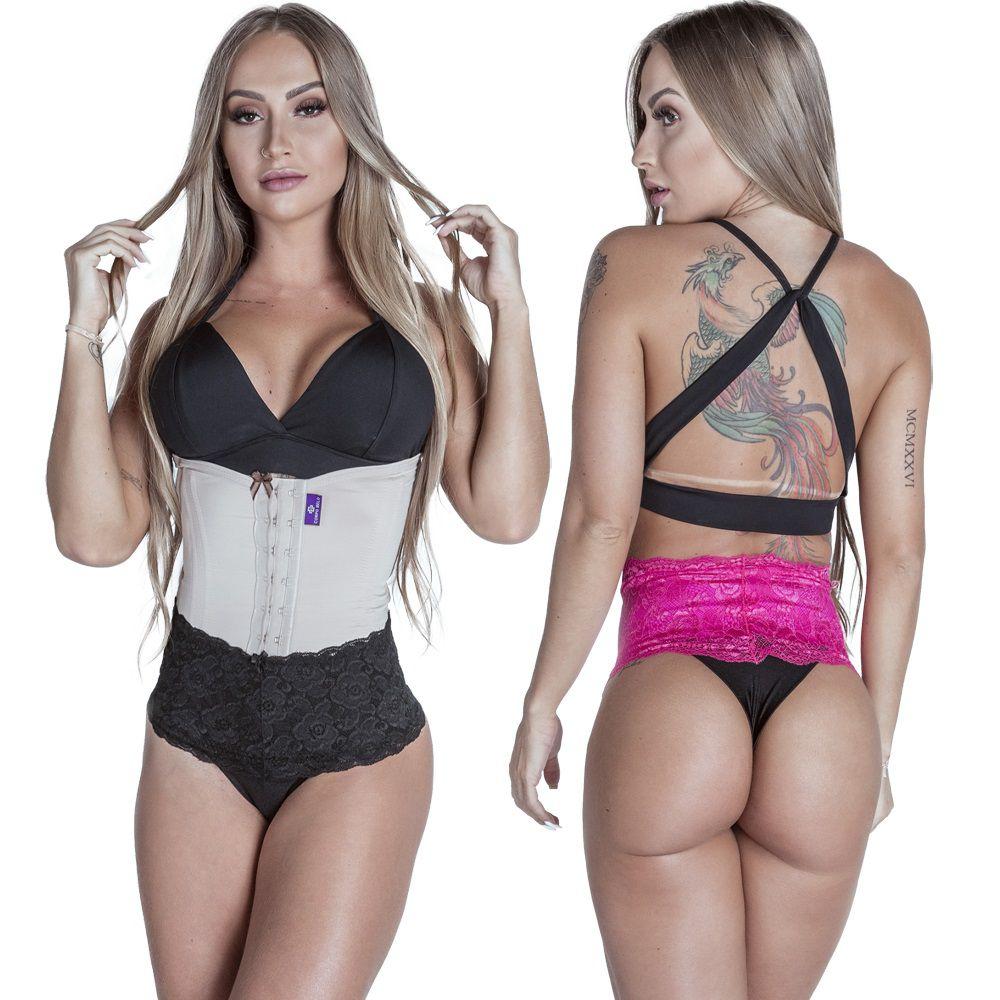 Kit Cinta Modeladora Longa 2 Colchetes Chocolate + Calcinha Modeladora Pink