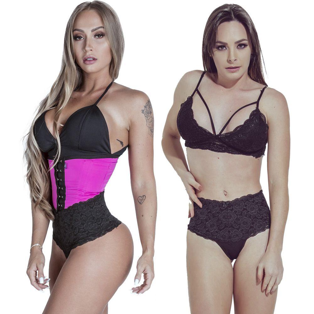 Kit Cinta Modeladora Longa 2 Colchetes Pink + Calcinha Modeladora Preta