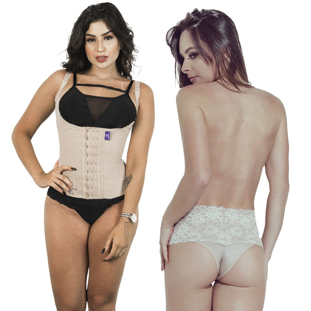 Kit Corselet 4 Colchetes Chocolate + Calcinha Modeladora Chocolate