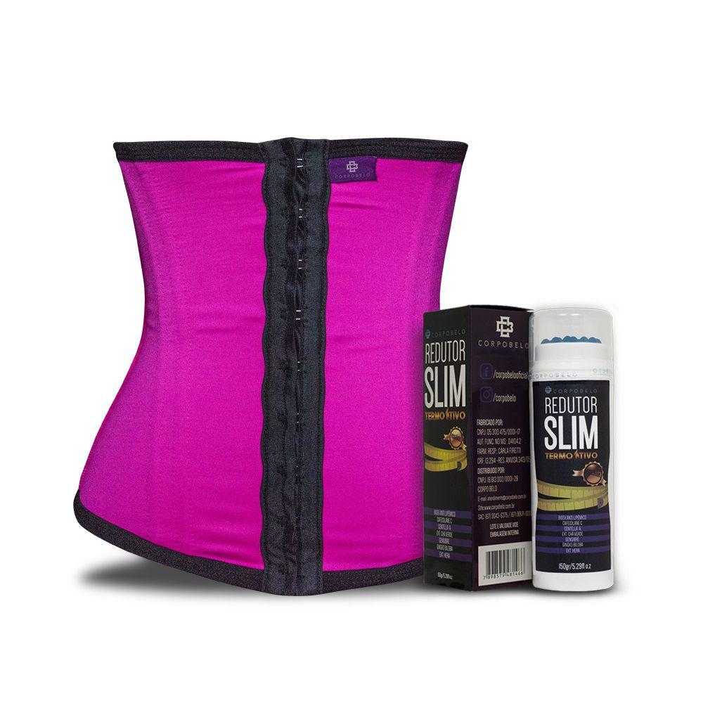 Kit Slim Cinta Modeladora Longa Pink + Gel Redutor
