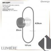 Arandela Quality AR1332PT Cadre 1L G9 200x101x390mm Preto