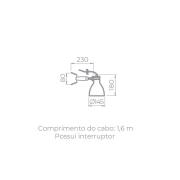 ARANDELA KLUG 19,4X28,5X14,2CM METAL PRETO | STELLA SD2215