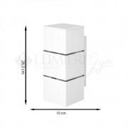 ARANDELA RETANGULAR 2 FILETE  28,5X10cm LED INTEGRADO ALUMINIO COM VIDRO TRANSPARENTE – 239e - USO EXTERNO