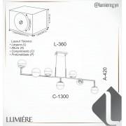 LUSTRE/PENDENTE RETANGULAR 42X130X36CM METAL E VIDRO | OLD ARTISAN PD-5403