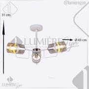 PLAFON 31×43CM METAL E VIDRO BRANCO E27×3 - DCD01300-3