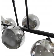 PENDENTE ABAPORU BALL RETANGULAR C/ GLOBO 95X31CM METAL E VIDRO PRETO E FUMÊ - BELLA ILUMINAÇÃO HL003B