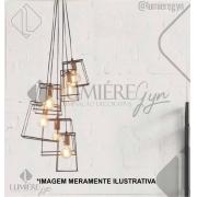 PENDENTE CASUAL LIGHT PD643 IVORY 6L E27 500X800MM PRETO/COBRE
