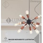 PENDENTE CASUAL LIGHT QPD131412 KIEV 12L E27 Ø430X310MM COBRE/PRETO
