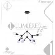 PENDENTE CASUAL LIGHT  QPD13229 CLUSTER 9L E27 Ø660X530MM PRETO