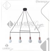 PENDENTE CASUAL LIGHT QPD1353 TRACE 4L E27 890X1050MM COBRE/PRETO