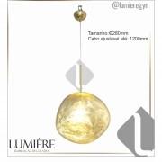 Pendente Φ28×120cm Dourado Metal+vidro Dourado E27 DCD02016