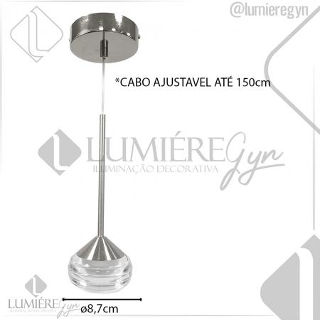 PENDENTE GOTA DE COBRE 8.7×24CM COBRE METAL+CRISTAL LED 5W 3500K BIVOLT -DCD02035