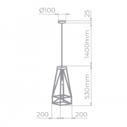 PENDENTE RETRONIC ARAMADO 54X20X20CM METAL PRETO | STELLA SD8050