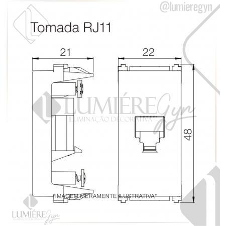 TOMADA RJ11 4F REFINATTO PRETO - 13799535