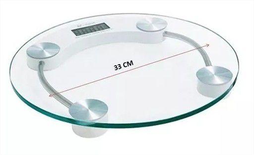 Balança Digital Banheiro Redonda academia Até 180kg Vidro Temperado