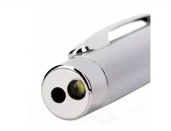 Caneta Lanterna Esferográfica Laser Com Estojo