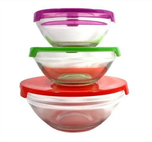 Conjunto Potes De Vidro Redondo 3 Pçs Tampa Colorida