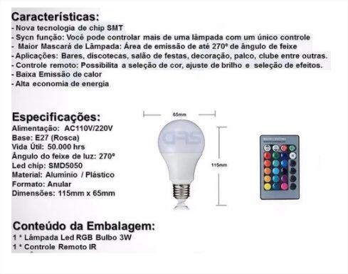 Lâmpada Colorida Led Rgb E27 Bulbo 3 Bivolt Controle Remoto