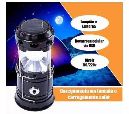 Lampião Solar Lanterna De Emergência Led Recarrega Celular