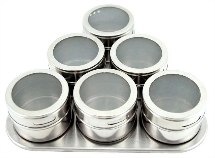 Porta Condimento Magnético Inox C/ 6 Frascos + Suporte