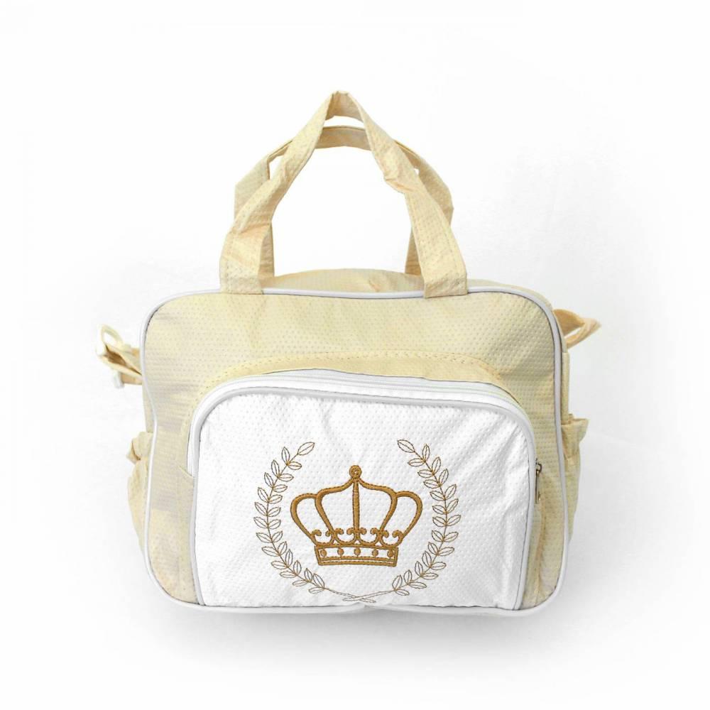 Bolsa de Maternidade Bege Pequena Coroa