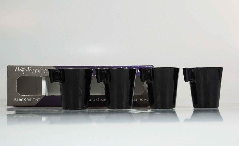 Conjunto De Xícaras Para Café Marcamix C/4 Expresso Black Bright - 80ml