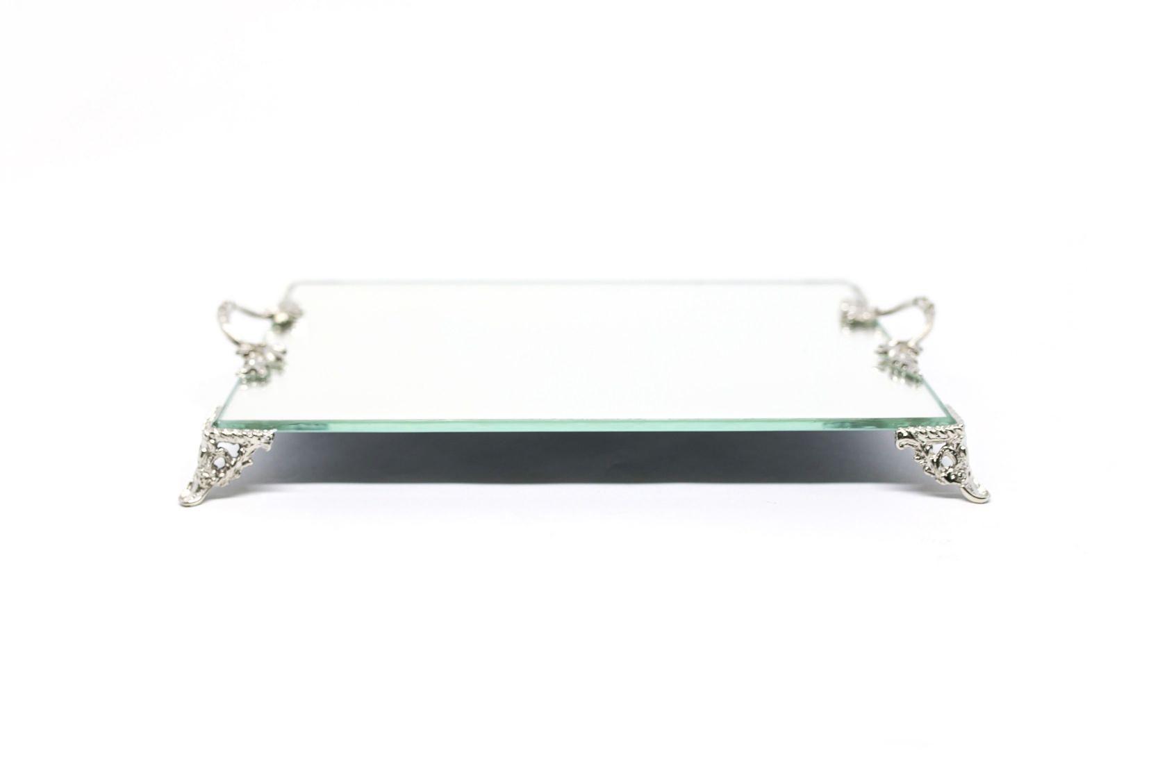 Bandeja Com Alça Prata Espelhada Lavabo Banheiro Sala Luxo