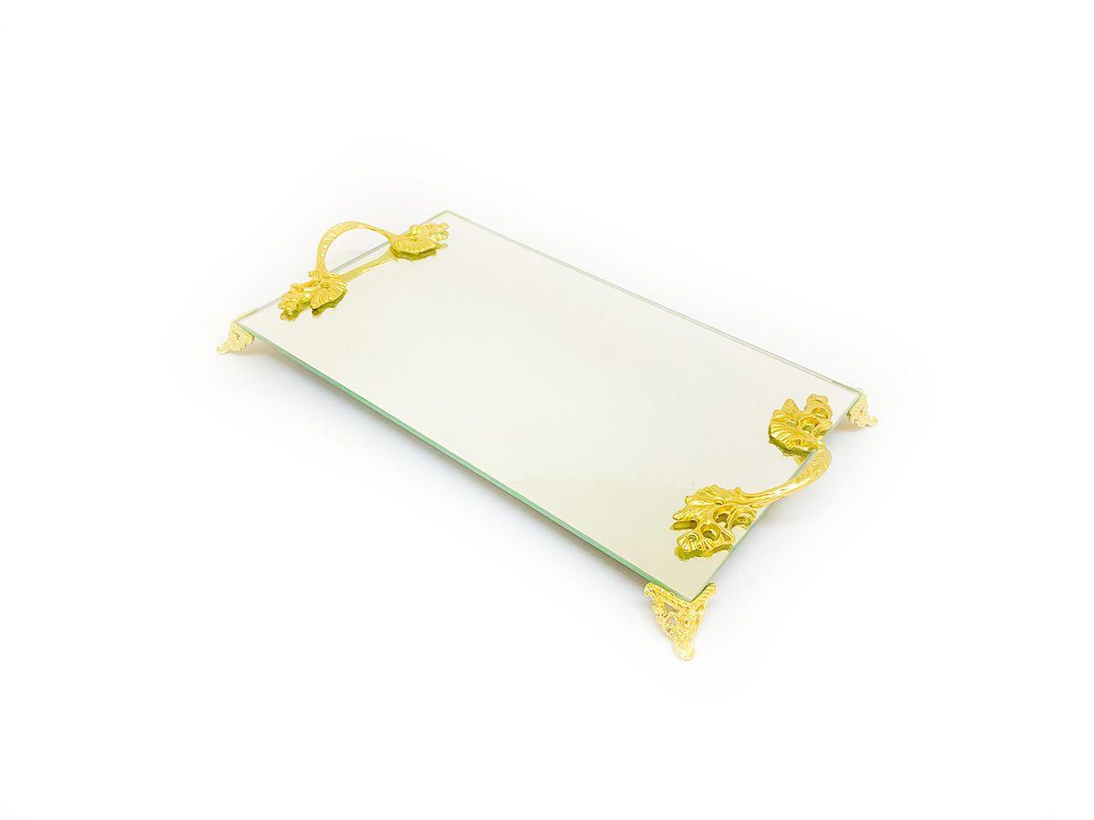 Bandeja Espelhada Com Alça Dourada Lavabo Banheiro Sala Luxo