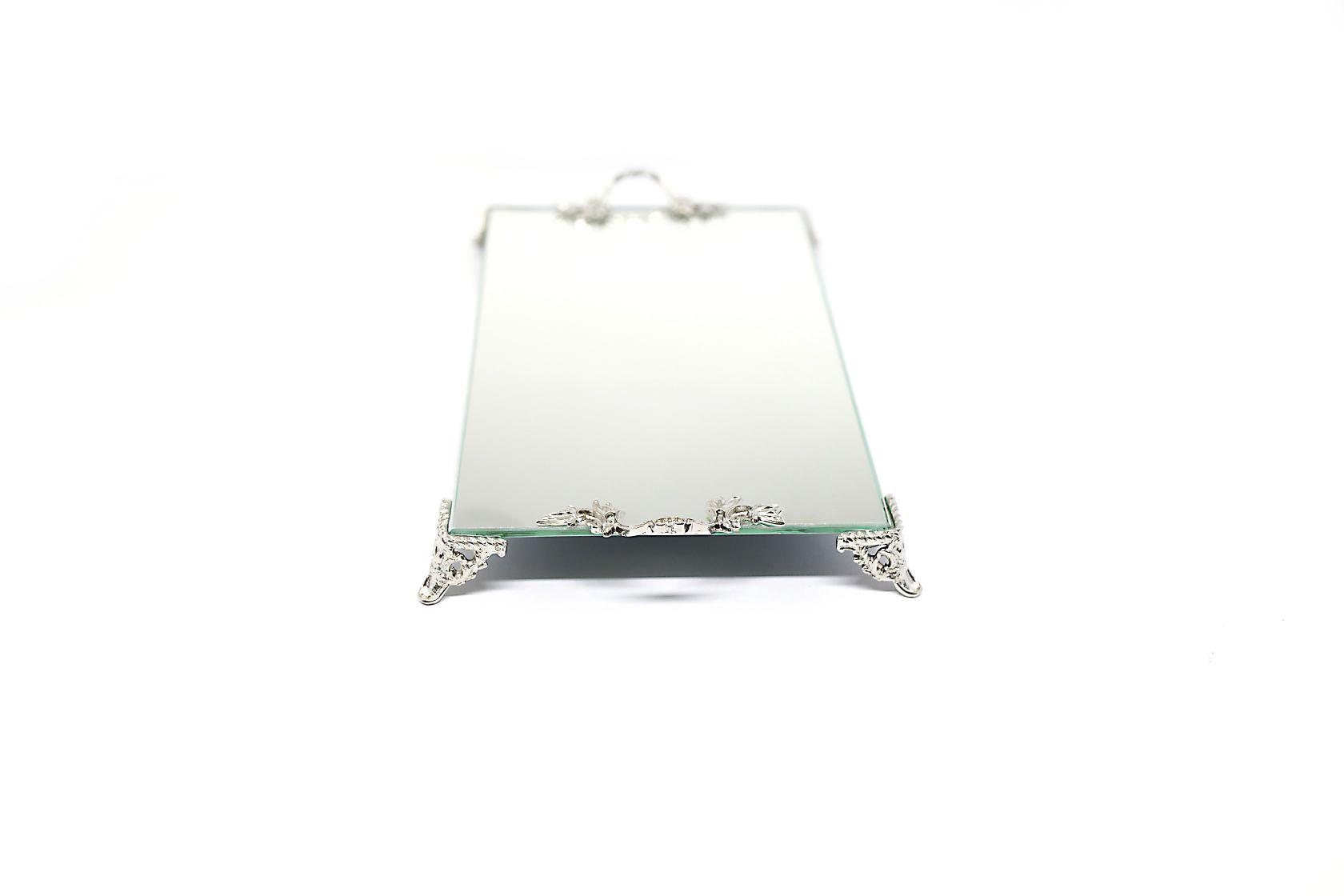 Bandeja Espelhada Com Alça Espelho Lavabo Banheiro Sala Luxo