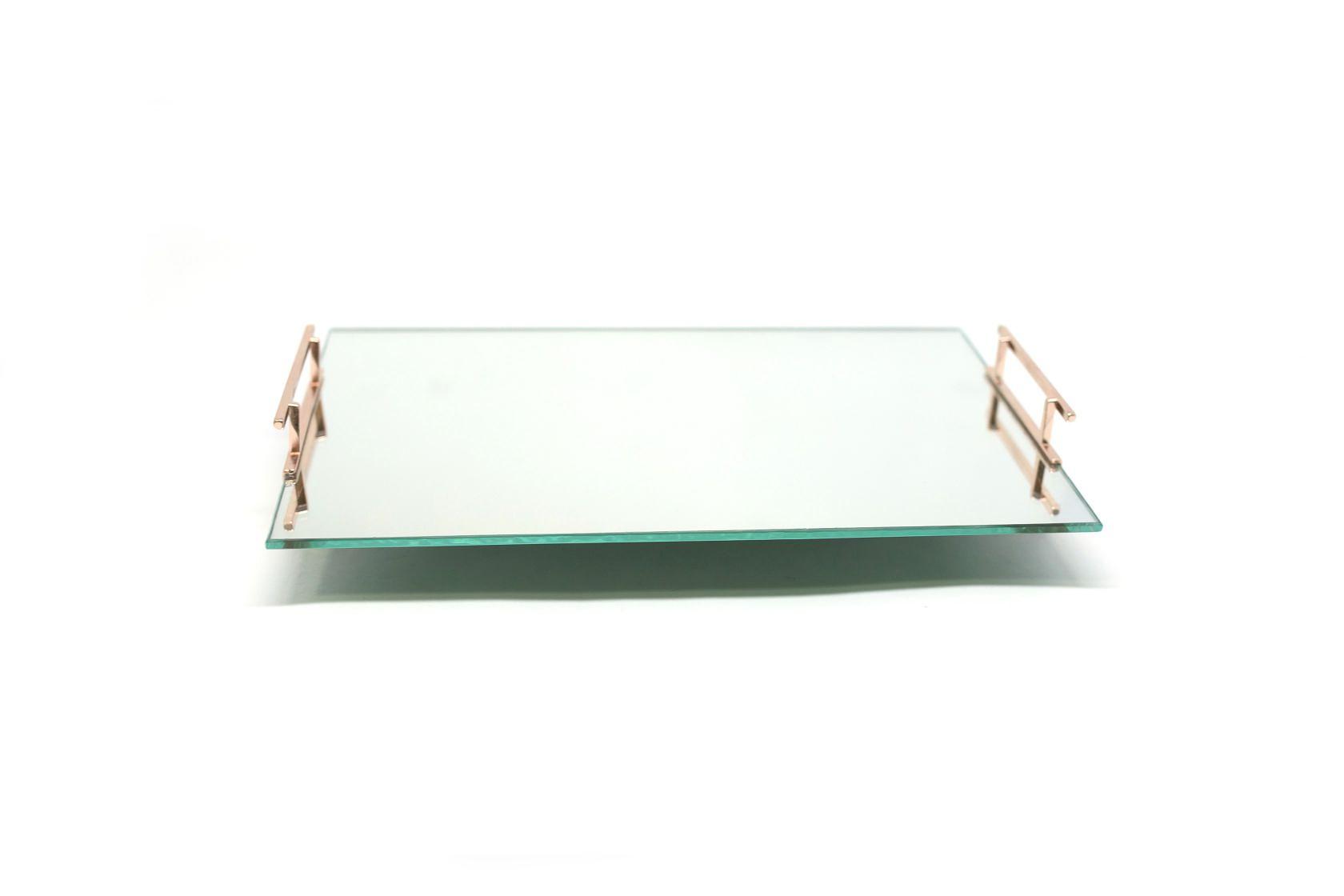 Bandeja Espelhada Luxo Banheiro Alça Lateral Rose 30cmx20cm