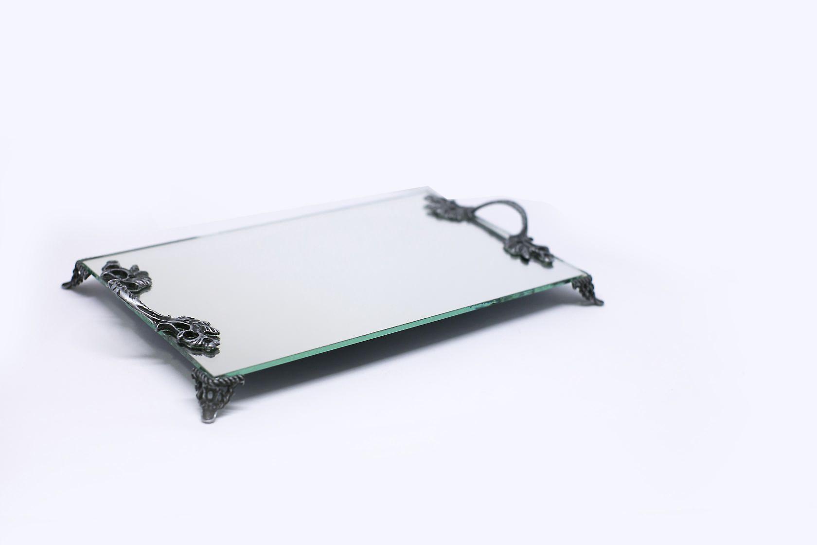 Bandeja Espelho Lavabo Banheiro Alças Prata Velha 30x18