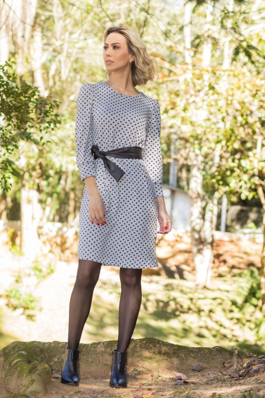 Vestido Malha Tricot Poá Mescla
