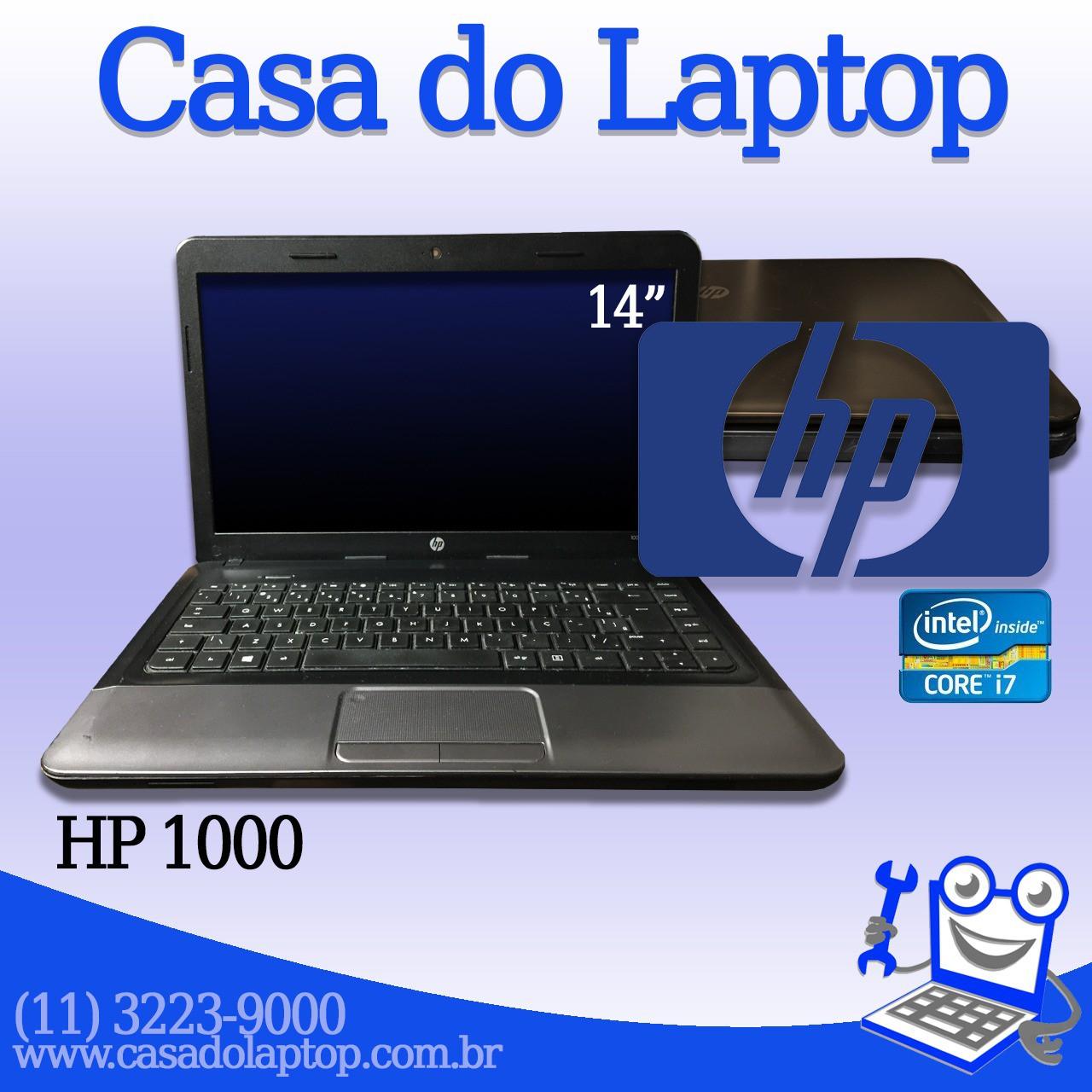 Laptop HP 1000 Intel i7 de 3a. Geração 8 GB memória e 500 GB disco rígido