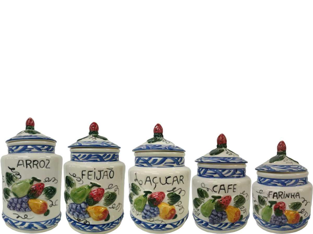 Conjunto de Mantimentos em Cerâmica (5 Peças)
