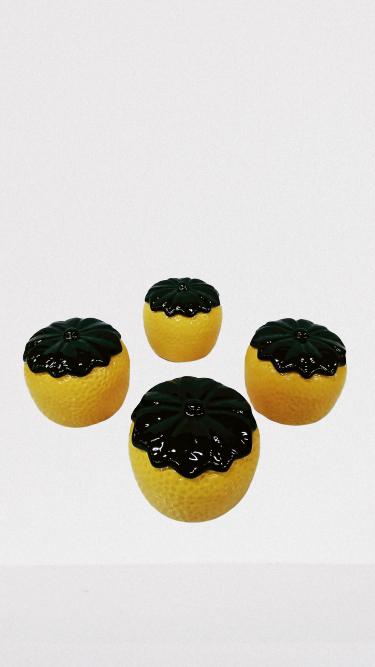 kit Potes Compoteira Doceira laranja com 4 Peças