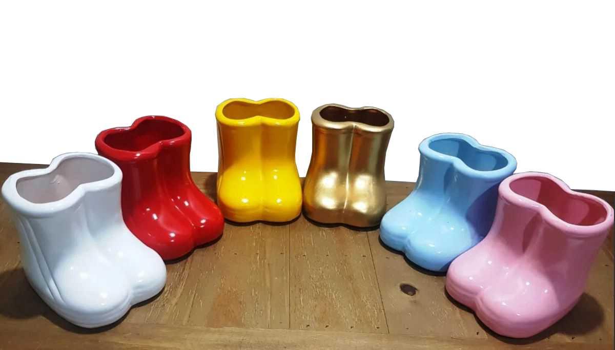 Vasos Cerâmica/botinhas Galochas /botas (kit Com 3)
