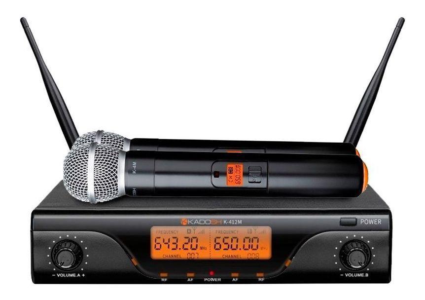 MICROFONE DE MÃO DUPLO KADOSH SEM FIO UHF - K412M