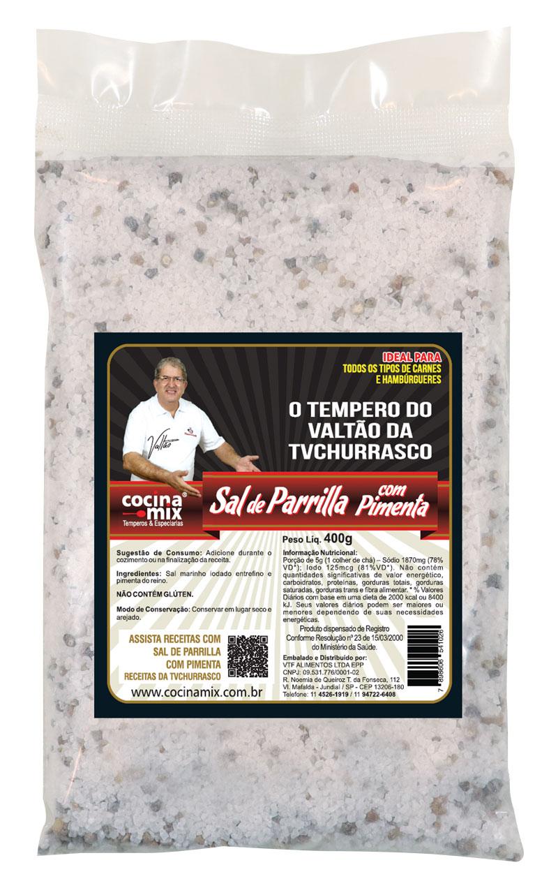 Sal de Parrilla com Pimenta - 400 g- Tempero para Churrasco - Cocina Mix - Econômica