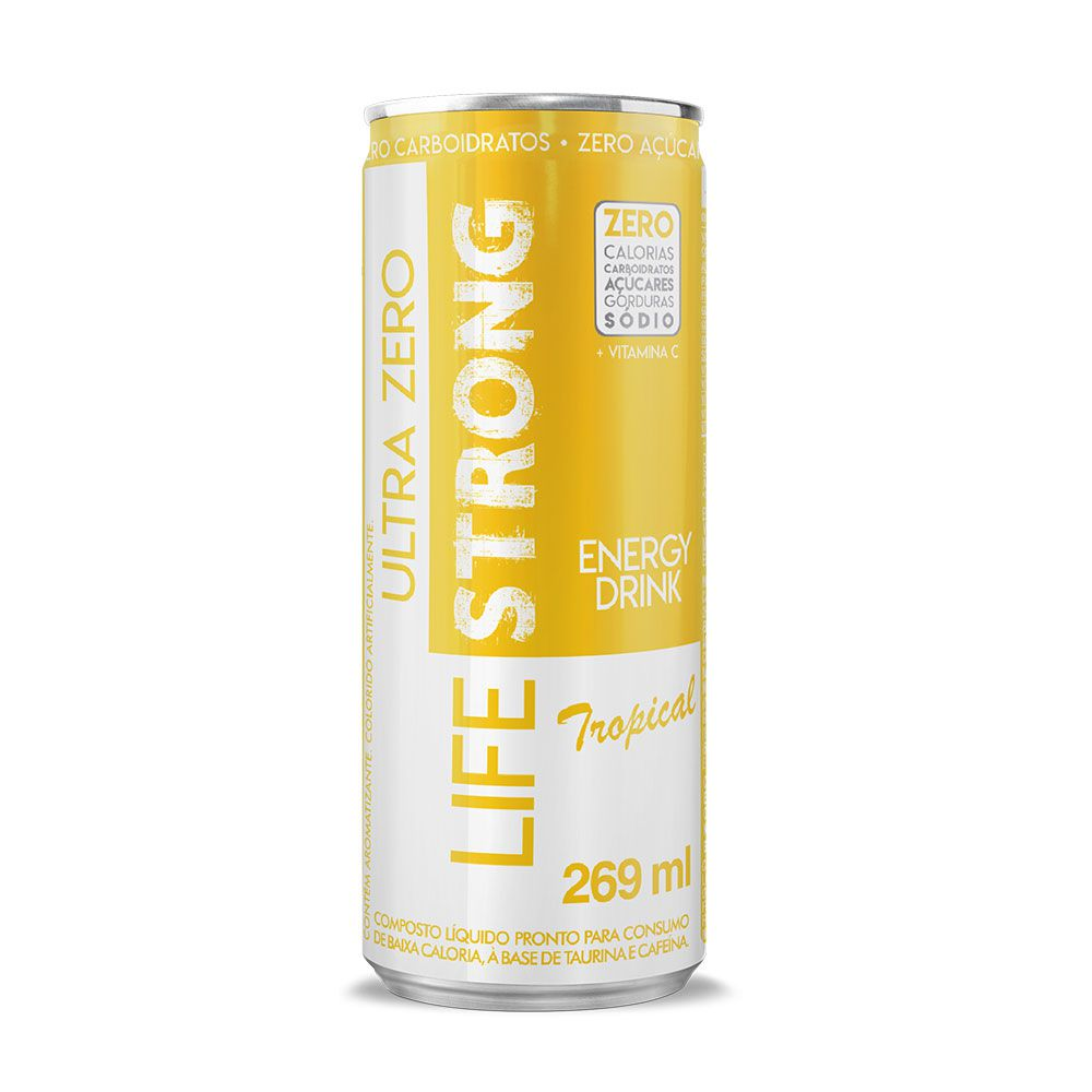 LIFE STRONG ENERGY DRINK ULTRA ZERO - TROPICAL - PACK COM 24