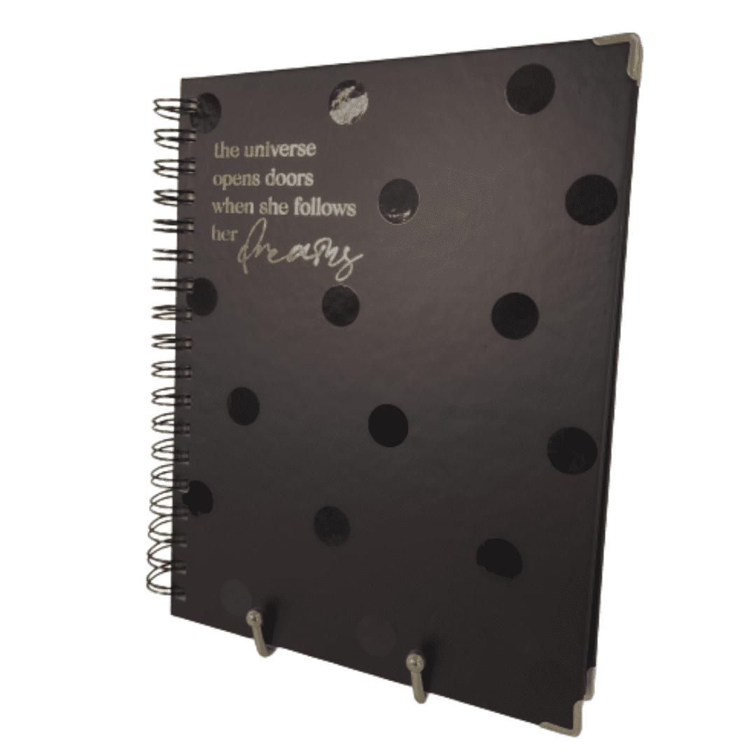 Caderno poá - preto