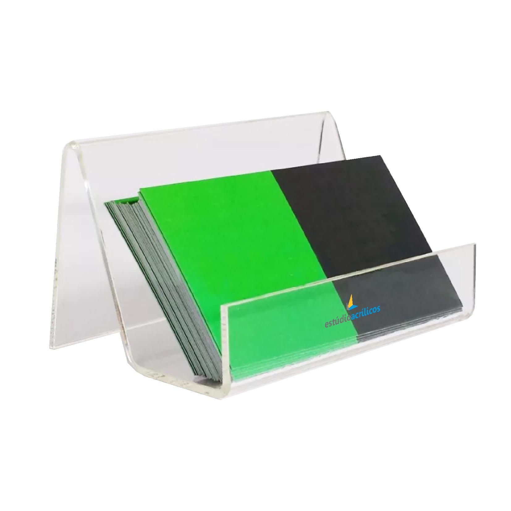 Kit 3un Porta Cartão De Visitas De Mesa Acrílico Cristal - Clean