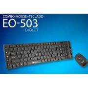 Kit Teclado E Mouse S/ Fio 2.4ghz Wireless Multimídia EO503 - Evolut