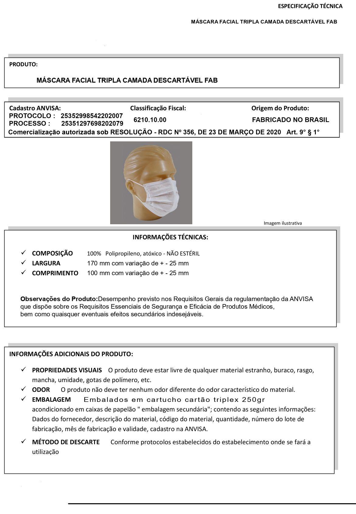 KIT 5 CAIXAS MASCARA FACIAL DE TRIPLA PROTEÇÃO COM ELÁSTICO ANVISA FAB CAIXA COM 50