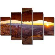 Quadro Painel Mosaico Decorativo 5 Partes Gruta Por do Sol