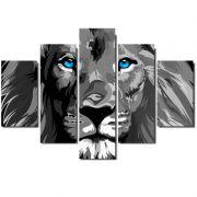 Quadro Painel Mosaico Decorativo 5 Partes Leao de Juda P&B