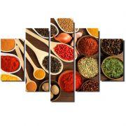 Quadro Painel Mosaico Decorativo 5 Partes Temperos